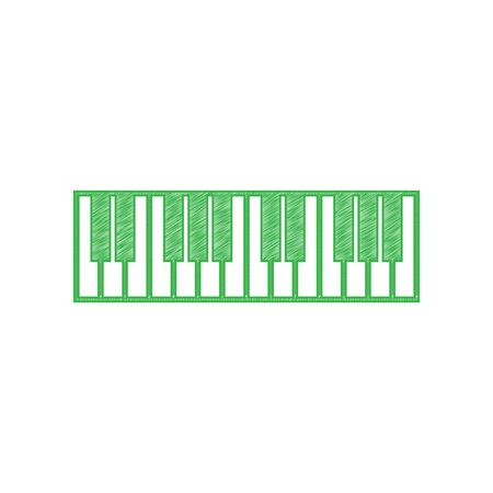 Piano Keyboard sign. Green scribble Icon with solid contour on white background. Vector Illustration