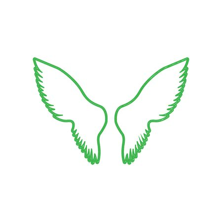 Wings sign illustration. Green scribble Icon with solid contour on white background.