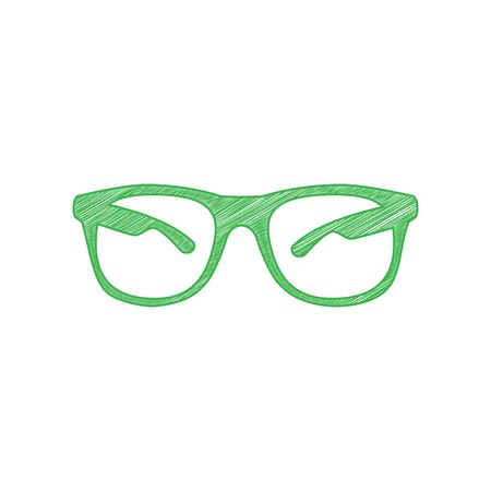Sunglasses sign illustration. Green scribble Icon with solid contour on white background.