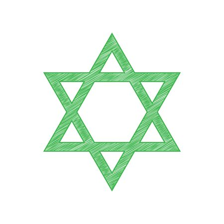 Shield Magen David Star. Symbol of Israel. Green scribble Icon with solid contour on white background.