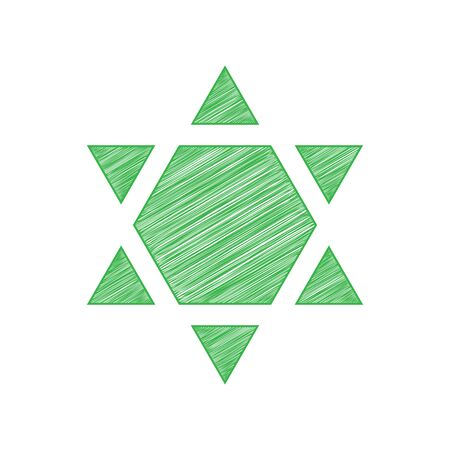 Shield Magen David Star Inverse. Symbol of Israel inverted. Green scribble Icon with solid contour on white background.