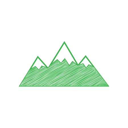 Mountain sign illustration. Green scribble Icon with solid contour on white background.