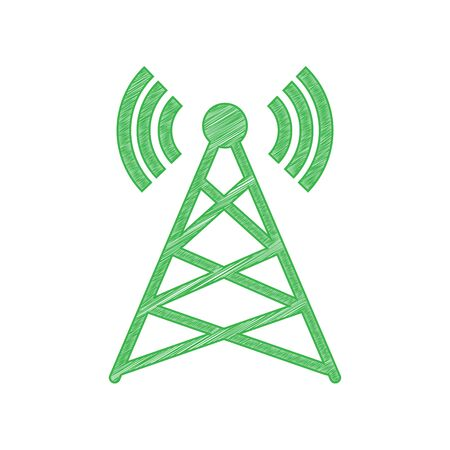 Antenna sign illustration. Green scribble Icon with solid contour on white background.
