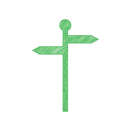 Direction road sign. Green scribble Icon with solid contour on white background. Ilustração Vetorial