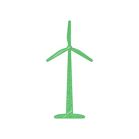 Wind turbine logo or sign. Green scribble Icon with solid contour on white background. Stock Illustratie