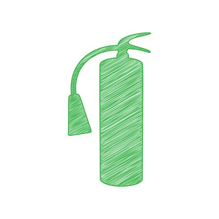 Fire extinguisher sign. Green scribble Icon with solid contour on white background. Ilustração
