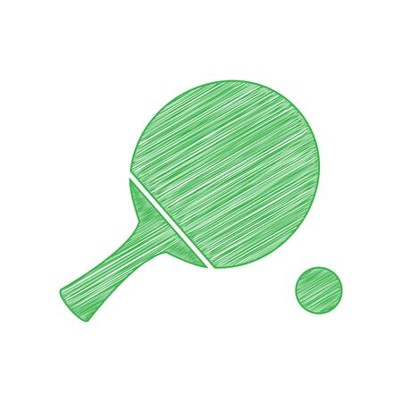 Table tennis paddle with ball. Green scribble Icon with solid contour on white background.