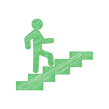 Man on Stairs going up. Green scribble Icon with solid contour on white background. 일러스트