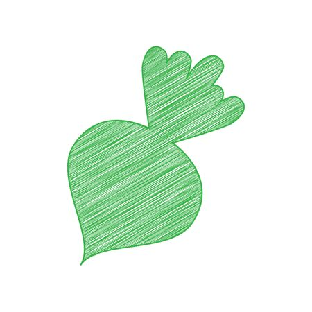 Beet simple sign. Green scribble Icon with solid contour on white background.