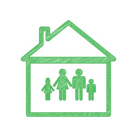 Family sign illustration. Green scribble Icon with solid contour on white background.