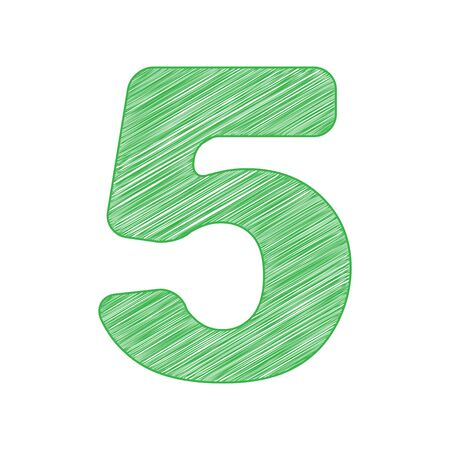 Number 5 sign design template element. Green scribble Icon with solid contour on white background. Vettoriali