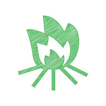 Fire sign. Green scribble Icon with solid contour on white background. Illustration