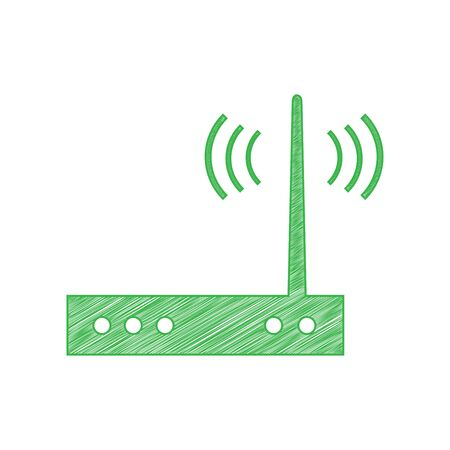 Wifi modem sign. Green scribble Icon with solid contour on white background. Иллюстрация