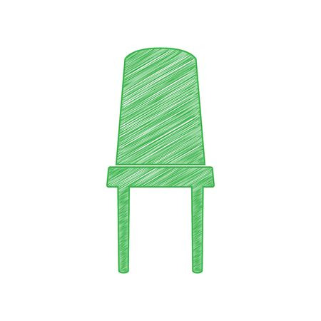 Office chair sign. Green scribble Icon with solid contour on white background.