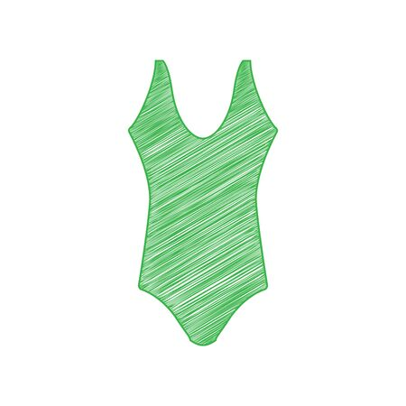 Woman's swimsuit sign. Green scribble Icon with solid contour on white background.