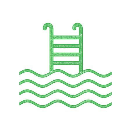 Swimming Pool sign. Green scribble Icon with solid contour on white background.