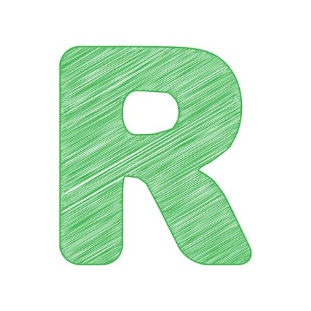 Letter R sign design template element. Green scribble Icon with solid contour on white background.