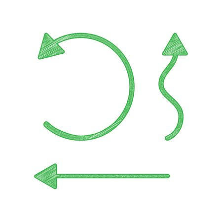 Simple set to Interface Arrows. Green scribble Icon with solid contour on white background.