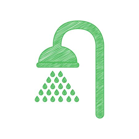 Shower sign. Green scribble Icon with solid contour on white background.