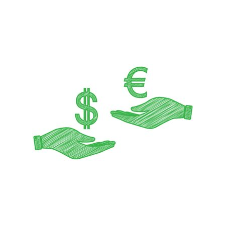 Currency exchange from hand to hand. Dollar adn Euro. Green scribble Icon with solid contour on white background. Stock Illustratie