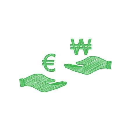 Currency exchange from hand to hand. Euro and Won. Green scribble Icon with solid contour on white background.