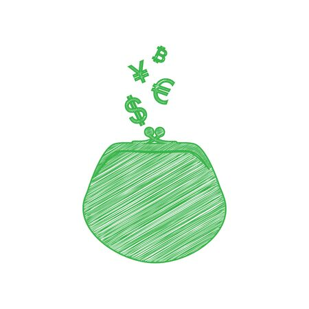 Wallet sign with currency symbols. Green scribble Icon with solid contour on white background.