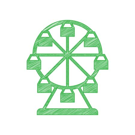 Ferris wheel sign. Green scribble Icon with solid contour on white background.
