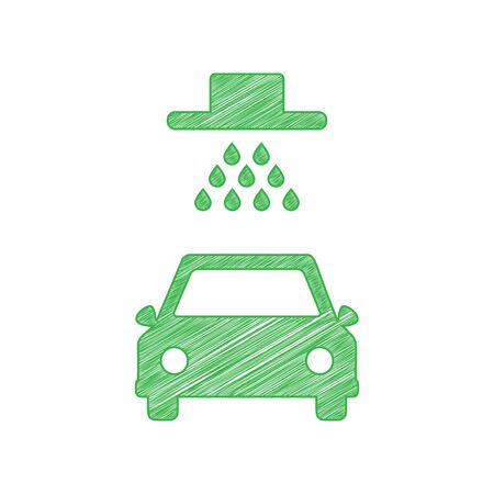 Car wash sign. Green scribble Icon with solid contour on white background.