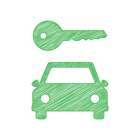 Car key simplistic sign. Green scribble Icon with solid contour on white background.