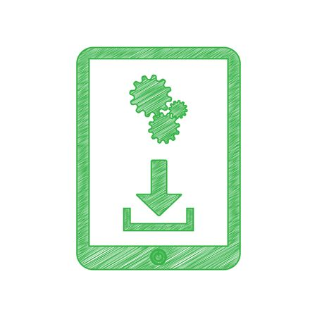 Phone icon with settings symbol. Green scribble Icon with solid contour on white background.