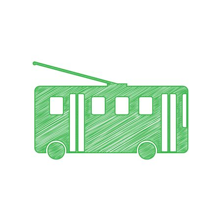 Trolleybus sign. Green scribble Icon with solid contour on white background.