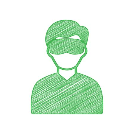 Man with sleeping mask sign. Green scribble Icon with solid contour on white background.