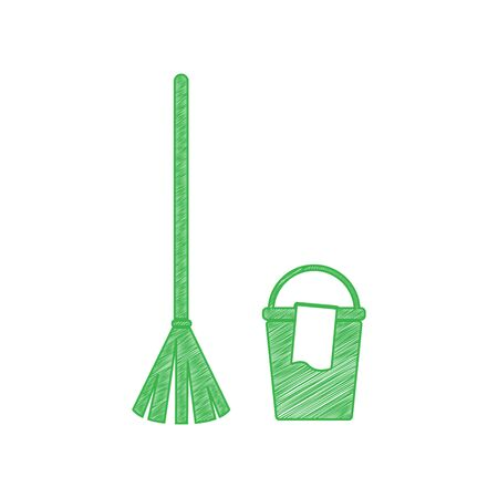 Broom and bucket sign. Green scribble Icon with solid contour on white background.