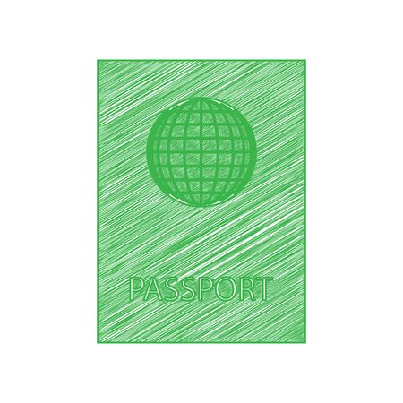 Passport sign illustration. Green scribble Icon with solid contour on white background.