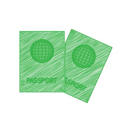 Two passports sign illustration. Green scribble Icon with solid contour on white background.
