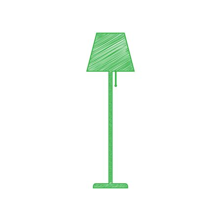 Floor lamp sign illustration. Green scribble Icon with solid contour on white background.