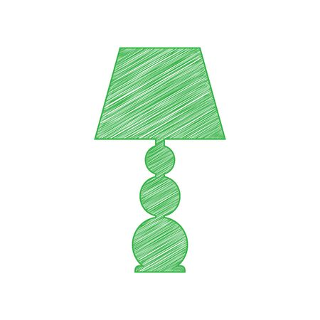 Lamp sign illustration. Green scribble Icon with solid contour on white background. Illustration