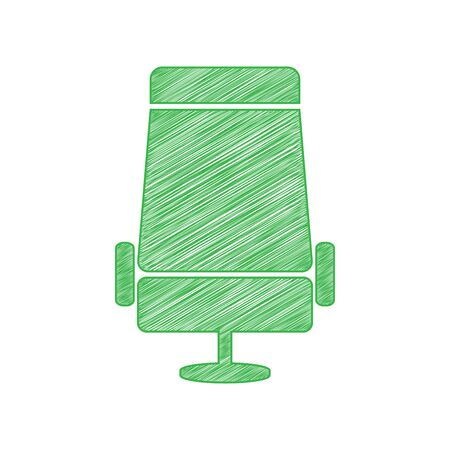 Airplane seat sign illustration. Green scribble Icon with solid contour on white background.