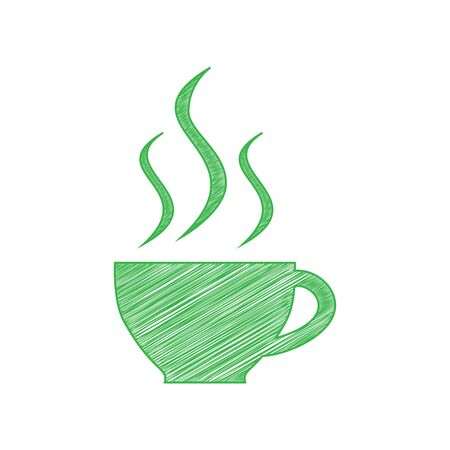 Cup sign with three small streams of smoke. Green scribble Icon with solid contour on white background.