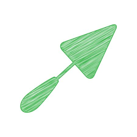 Trowel sign. Green scribble Icon with solid contour on white background.