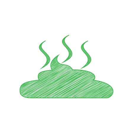 Simple Poop sign illustration. Green scribble Icon with solid contour on white background. Illustration