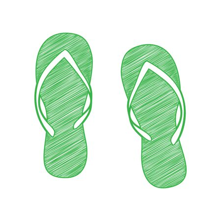 Flip flop sign. Green scribble Icon with solid contour on white background.