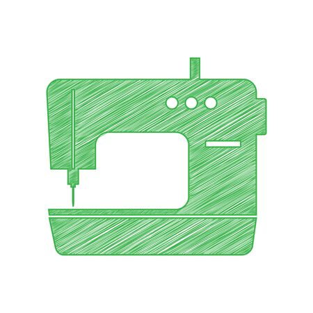 Sewing machine sign. Green scribble Icon with solid contour on white background. Illustration