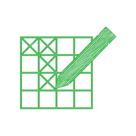 Crossword with pencil sign. Green scribble Icon with solid contour on white background.