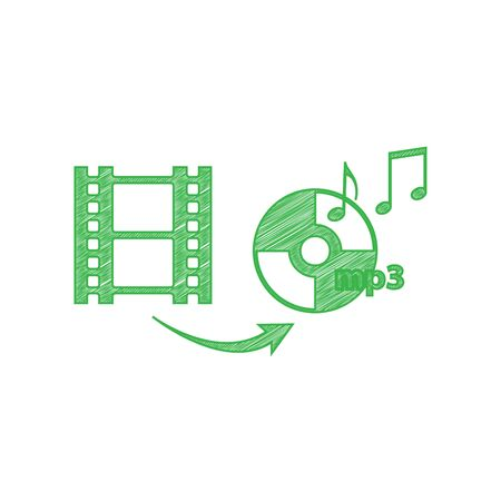 Video to audio converter sign. Green scribble Icon with solid contour on white background.