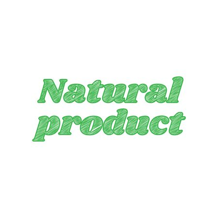 Natural product inscription. Green scribble Icon with solid contour on white background.