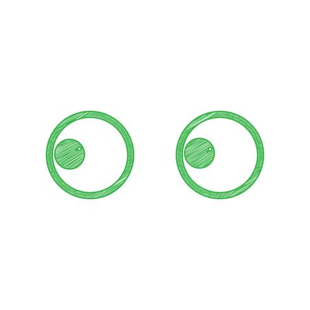 Cartoon eyes. Looking to the left. Green scribble Icon with solid contour on white background.