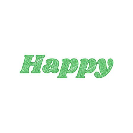 Happy letters slogan. Green scribble Icon with solid contour on white background.