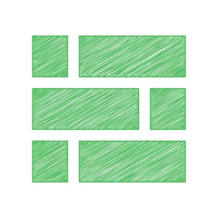 Brick wall sign. Green scribble Icon with solid contour on white background. Ilustração
