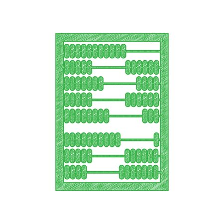 Abacus sign. Green scribble Icon with solid contour on white background.